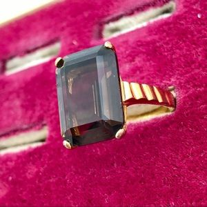 Smoky Quartz Emerald Cut 14K Plated Cocktail Ring
